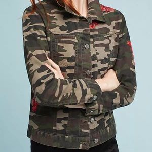 Anthropologie Pilcro Embroidered Camo Jacket Small